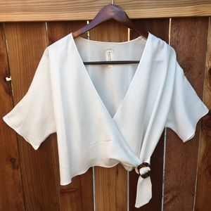 NWOT White Wrap Blouse